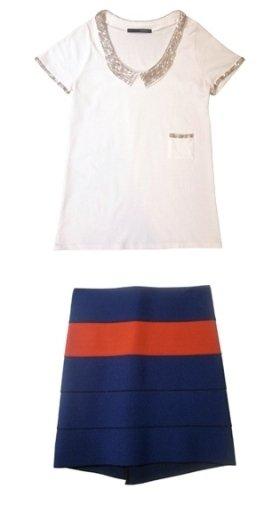 「ビジューカラーTシャツ」と「バンデージスカート」