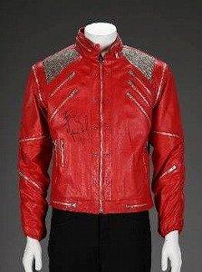 「ビート・イット」スタイルの赤い皮製ジャケット(マイケルさんのサイン入り)