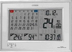 1か月分のカレンダーに六曜、温度や湿度も表示するデジタル電波時計