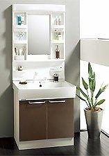 四角いシャープな洗面ボールにホース内蔵タイプのシャワー付き