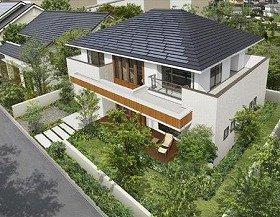 環境にも家計にもやさしい木の家(瓦一体型太陽光パネル設置イメージ)