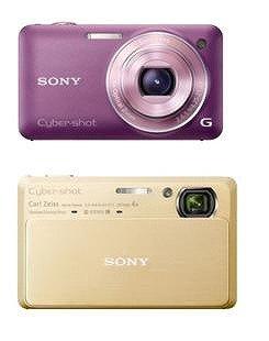 「DSC-WX5」(バイオレット・上)と「DSC-TX9」(ゴールド・下)
