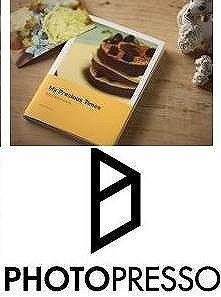 印刷・製本されたフォトブック(左)とロゴ(右)