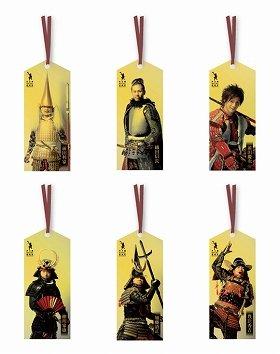 上段左から、前田利家、織田信長、前田慶次、下段左から、徳川家康、加藤清正、豊臣秀吉