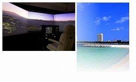 フライトシミュレーター(イメージ)と宿泊場・会場のザ・ビーチタワー沖縄