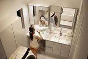 1坪の洗面室に、多彩な空間プランを提案する(写真は、「スリムワイドカウンター」を使ったホームエステプラン)