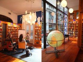 書店の一角ではフランス語教室。通りに面した大きな窓