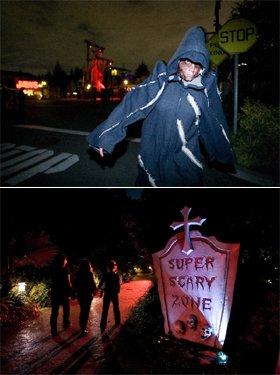 暗闇にゾンビが・・・(写真上)、「~聖飢魔ⅠⅠプレゼンツ~スーパー・スケアリーゾーン」(写真下)  (C) & (R) Universal Studios. All rights reserved.