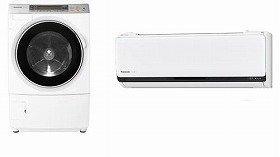 衣類の量や乾き方も見分けるドラム式洗濯機(左)と、排熱を暖房に有効活用するルームエアコン(右)