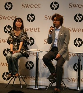 「sweet」の渡辺佳代子編集長(左)と日本HPコンシューママーケティング部甲斐博一部長(右)