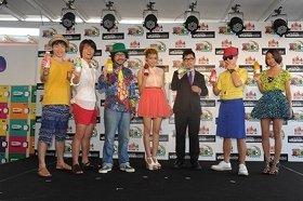 イベントに参加した(左から)ジャルジャル、倉本美津留さん、ローラさん、m-flo のVERBALさんと☆Takuさん、青山テルマさん