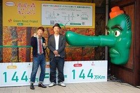 高尾山清滝駅前に現れた「エコ天狗」とTKOの2人