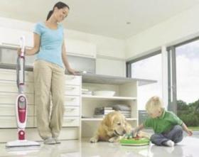 キッチンやペットの汚れにも床の種類にあわせて最適なスチーム量で除菌、清掃できる