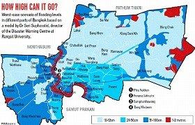 バンコクポストによる洪水被害予想地図