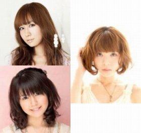 高垣彩陽さん(左上)、竹達彩奈さん(左下)、豊崎愛生さん(右)
