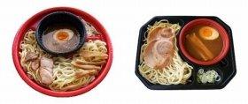 左から「レンジ めん処藤堂監修 風雅のアニキ」(498円)、「烏城監修 レンジつけ麺」(450円)