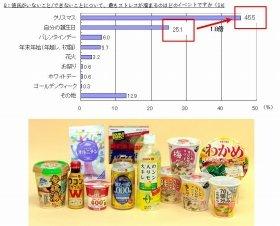 (上)半数近くが「クリスマス」にストレス感じちゃう(下)さまざまなオルニチン配合商品の一例