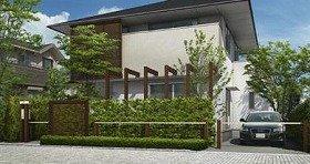 住宅のオープン外構を「線」でやさしく仕切る(写真は、施行例)