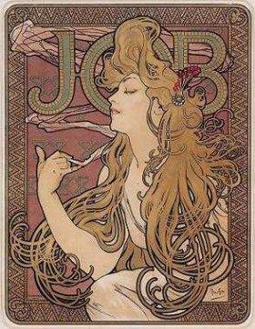 アルフォンス・マリア・ミュシャ「タバコ巻紙『ジョブ』」(1896年)