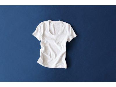 写真は「綿天竺UネックフィットTシャツ」