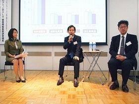 齋藤医師(中央)と木戸教授(右)は「ALAで代謝を高め、この夏を乗り切ろう」と話す(「ALAサイエンスフォーラム」で)