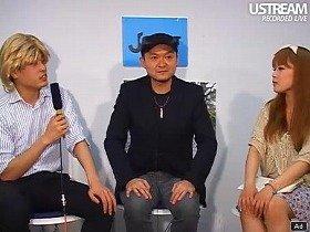 『J-CAST THE FRIDAY』で自身の活動について語る松本隆博さん(中央、J-CAST麹町スタジオで)