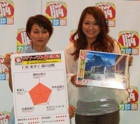 新商品と仲良しぶりをアピールした仁科亜希子さん(左)、仁美さん(右)