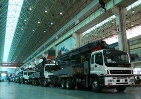 コンクリートポンプ車の組み立て工場(湖南省長沙市)