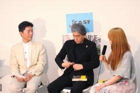 『J-CAST THE FRIDAY』に出演した鳥越俊太郎氏(中)。左は大森千明・J-CASTニュース編集長(1日、東京・千代田区のJ-CAST麹町スタジオで)