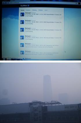 大気質指数が500の最高値を超えBeyond Indexとなった日(2012.1.10)のBeijing Air画面(上)とこの日の国貿三期ビル(下)。PM2.5の次の数値が濃度(ナノグラム/m3)、次が大気質指数。