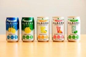 ノンアルコールRTD市場でトップを走るサントリー酒類の「のんある気分」。左から2番目が5月22日発売の「地中海グレープフルーツ」だ