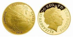 写真は、10ポンド(5オンス)金貨