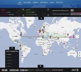 赤の線が日本と世界各国との、緑の線が中国と各国の交流