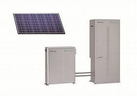 太陽光発電パネル(左上)と家庭用燃料電池「エネファーム」(右下〉