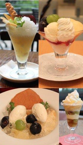 各店オリジナルレシピによる岡山白桃をつかったパフェ