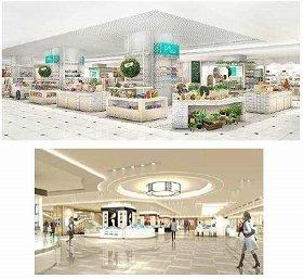 (上)地下1階 東急ハンズプロデュースの「ハンズ ビー」、(下)2階 化粧品売場(イメージ)