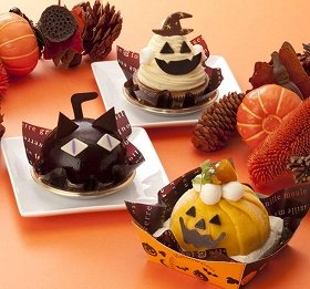 上から、おばケーキ、ハロウィン黒猫、ハロウィンドーム。