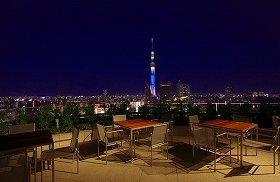 14階テラスから見た夜景。ライトアップされたスカイツリーが美しい