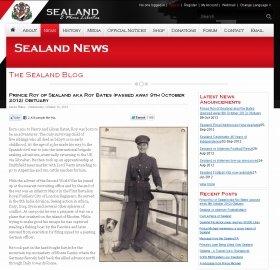 ロイ・ベーツ公の死去を伝えるシーランド公国ウェブサイト