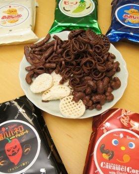 東ハトおなじみのスナックとメリーチョコレートのコラボ。果たしてそのお味は