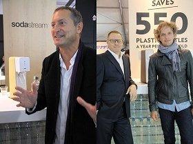 (左から)ソーダストリーム社のダニエル・バーンバウムCEO、同社プロダクト・イノベーション責任者のヤーロン・コペル氏、デザイナーのイヴ・ベアール氏