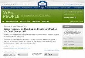 「デス・スター建造」請願ページ。12月17日時点で3万人近くが署名を行った(ホワイトハウスのウェブサイトより)