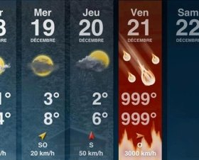 話題を呼んでいる「世界滅亡」の天気予報