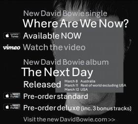 新譜発売を告知するデヴィッド・ボウイ公式ページ
