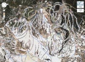 (1)スキー場マップの一例(Mammoth Mountain)。コースやリフトなどが色分けされて表示されている
