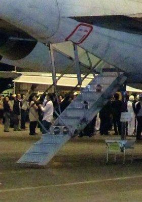 MD-90の特徴の後部階段。フライト最終日には乗客が殺到した