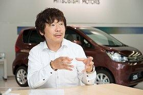 新型「eKワゴン」の開発に携わった三菱自動車商品企画部エキスパートの鴛海尚弥氏