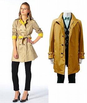 「サンヨー」リバーシブル仕様の婦人コートと「サンヨー」着脱可能なダウンライナー付きの紳士コート