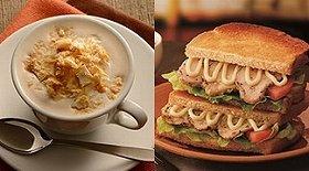 左:バナナパイティーラテ、右:トーストサンド 日南どりのハーブ焼き