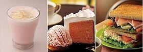 第1弾の「桜のモンブラン」が美味しかっただけに期待大 左から「桜ホワイトチョコレート」「桜のシフォンケーキ」「トーストサンド 生ハムのカプレーゼとポテトサラダ」